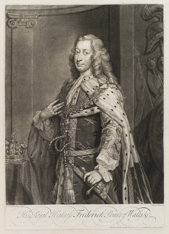 Frederick Lewis, Prince of Wales, by and published by John Faber Jr, after  Jeremiah Davison, 1739 or before (1730) - NPG D19849 - © National Portrait Gallery, London