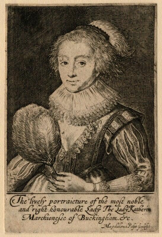 Katherine Villiers (née Manners, later MacDonnell), Duchess of Buckingham, by Magdalena de Passe, circa 1620-1623 - NPG D16672 - © National Portrait Gallery, London