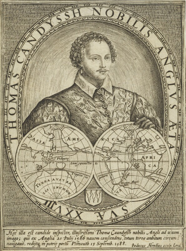 Thomas Cavendish, by Jodocus Hondius, circa 1590-1592 - NPG 6677 - © National Portrait Gallery, London
