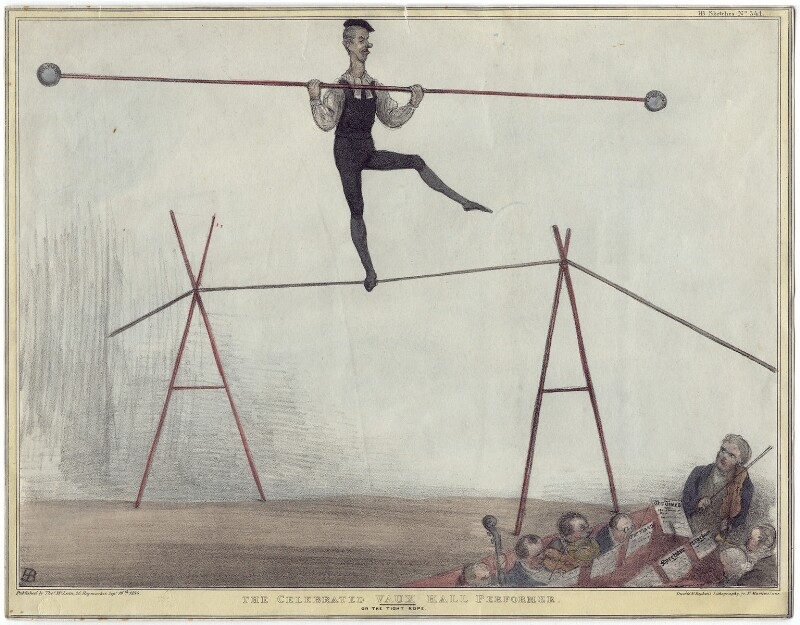 Henry Brougham, 1st Baron Brougham and Vaux ('The Celebrated Vaux Hall Performer on the Tight Rope'), by John ('HB') Doyle, printed by  Ducôte & Stephens, published by  Thomas McLean, published 16 September 1834 - NPG D16783 - © National Portrait Gallery, London