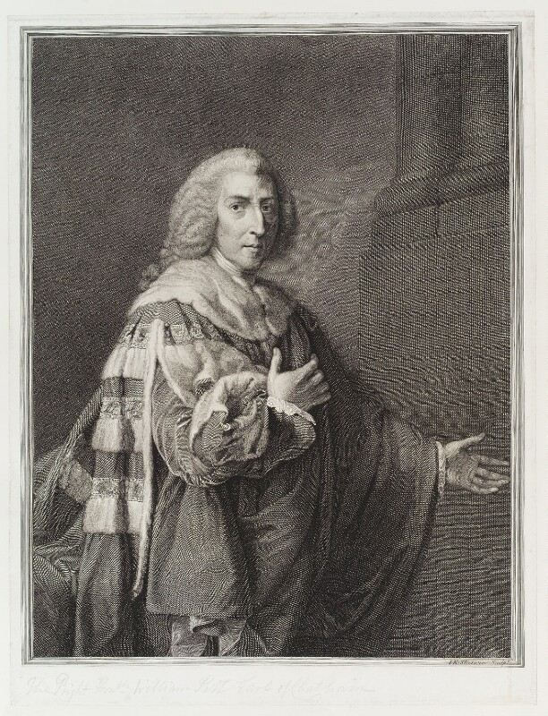 William Pitt, 1st Earl of Chatham, by and published by John Keyse Sherwin, after  Richard Brompton, published 1778 - NPG D19880 - © National Portrait Gallery, London