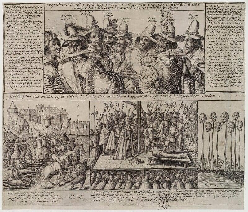 The Gunpowder Plot Conspirators, 1605, by Unknown engraver, 1606 - NPG D19881 - © National Portrait Gallery, London