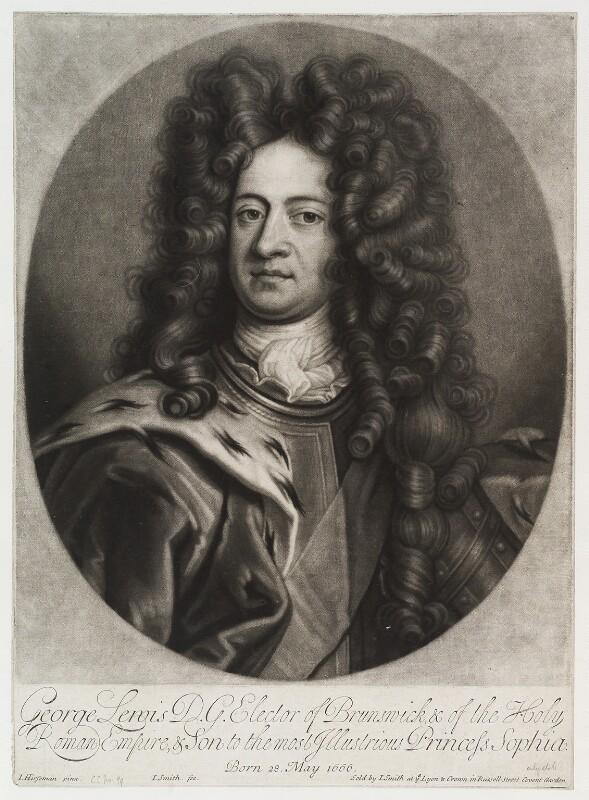 King George I when Elector of Hanover, by and published by John Smith, after  Johann Leonhard Hirschmann, 1706 - NPG D19903 - © National Portrait Gallery, London
