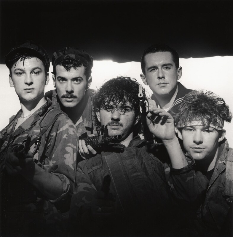 Frankie Goes To Hollywood (Mark O'Toole; Paul Rutherford; Peter Gill; Holly Johnson; Nasher Nash (Brian Nash)), by Eric Watson, 5 April 1984 - NPG x87624 - © Eugene and Willa Watson / National Portrait Gallery, London