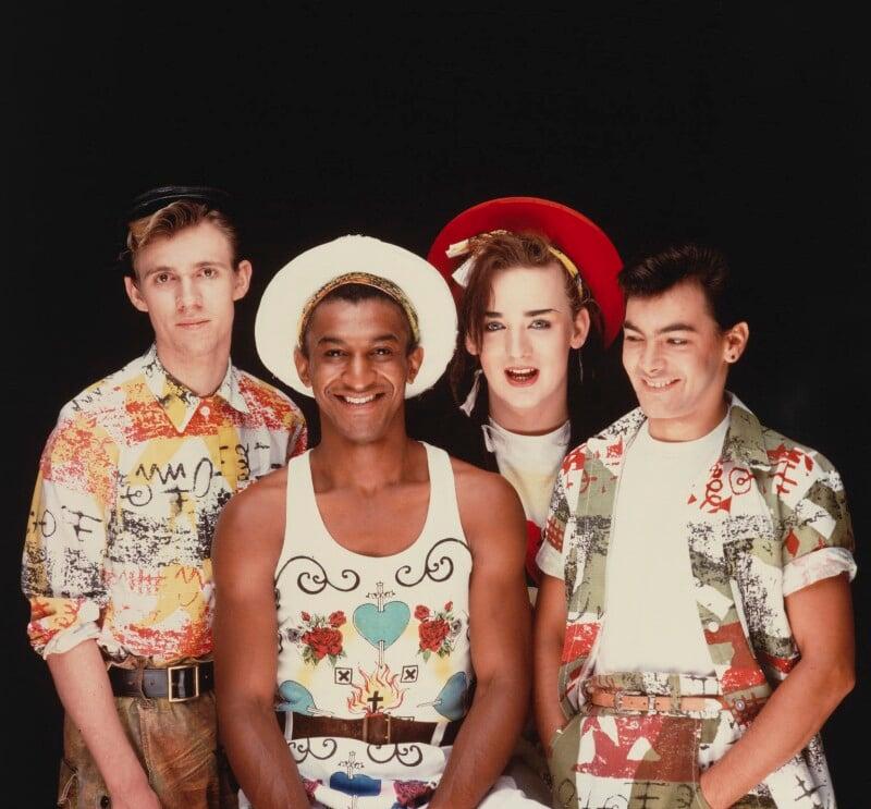 Culture Club (Roy Hay; Mikey Craig; Boy George; Jon Moss), by Eric Watson, 1982 - NPG x87632 - © Eugene and Willa Watson / National Portrait Gallery, London