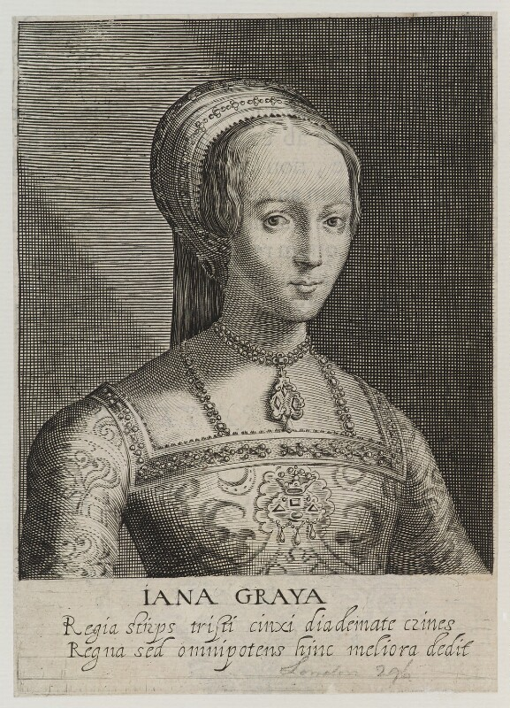 Lady Jane Grey, by Magdalena de Passe, by  Willem de Passe, after  Hans Holbein the Younger, published 1620 - NPG D19952 - © National Portrait Gallery, London