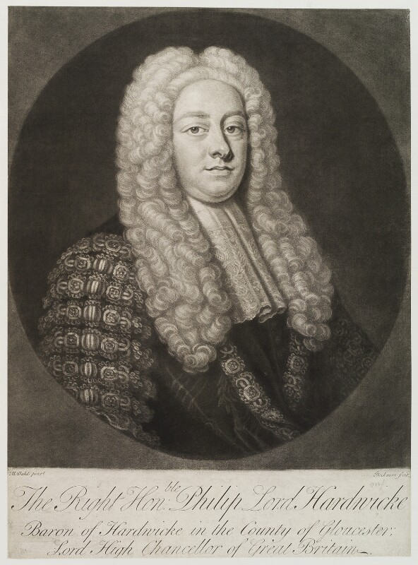 Philip Yorke, 1st Earl of Hardwicke, by Gerhard Bockman, after  Michael Dahl, circa 1750-1768 - NPG D19997 - © National Portrait Gallery, London