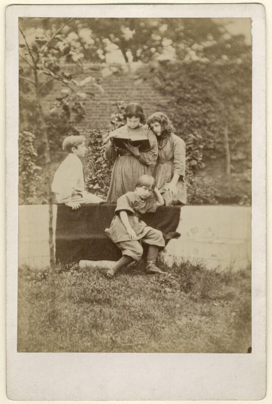 Sir Philip Burne-Jones, 2nd Bt; Jane Alice ('Jenny') Morris; Margaret Mackail (née Burne-Jones); May Morris, by Frederick Hollyer, 1874 - NPG x19863 - © National Portrait Gallery, London