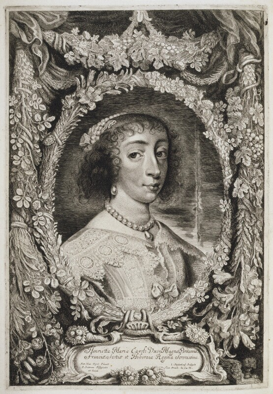 Henrietta Maria, by Jonas Suyderhoef, published by  Pieter Claesz Soutman, after  Sir Anthony van Dyck, published circa 1625-1650 - NPG D20016 - © National Portrait Gallery, London