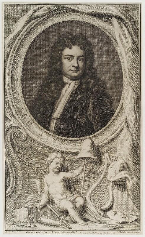 Sir Richard Steele, by Jacobus Houbraken, published by  John & Paul Knapton, after  Sir Godfrey Kneller, Bt, published 1748 - NPG D20043 - © National Portrait Gallery, London