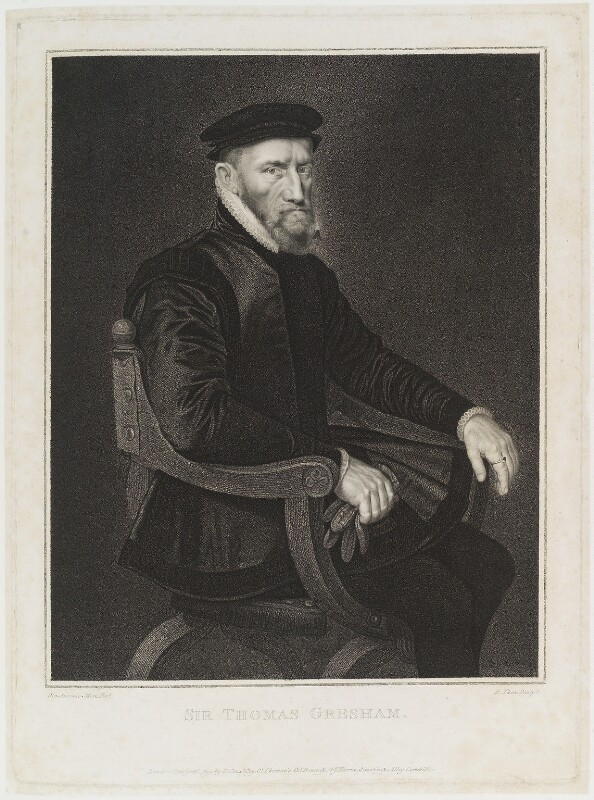 Sir Thomas Gresham, by Robert Thew, published by  Thomas Cox, published by  John Harris, after  Anthonis Mor (Antonio Moro), published 1 January 1792 - NPG D20061 - © National Portrait Gallery, London