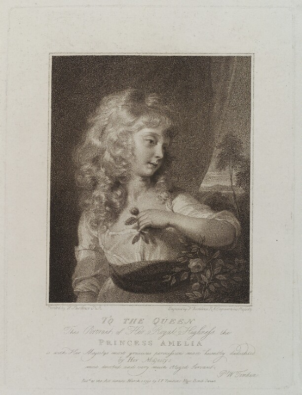 Princess Amelia, by Francesco Bartolozzi, published by  J.F. Tomkins, after  Sir Thomas Lawrence, published 1 March 1792 - NPG D20079 - © National Portrait Gallery, London