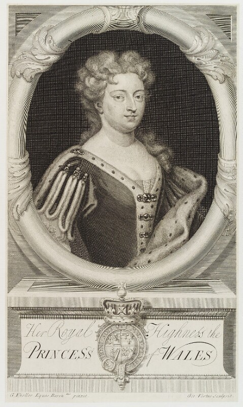 Caroline Wilhelmina of Brandenburg-Ansbach, by George Vertue, after  Sir Godfrey Kneller, Bt, engraved 1718 (1716) - NPG D20113 - © National Portrait Gallery, London