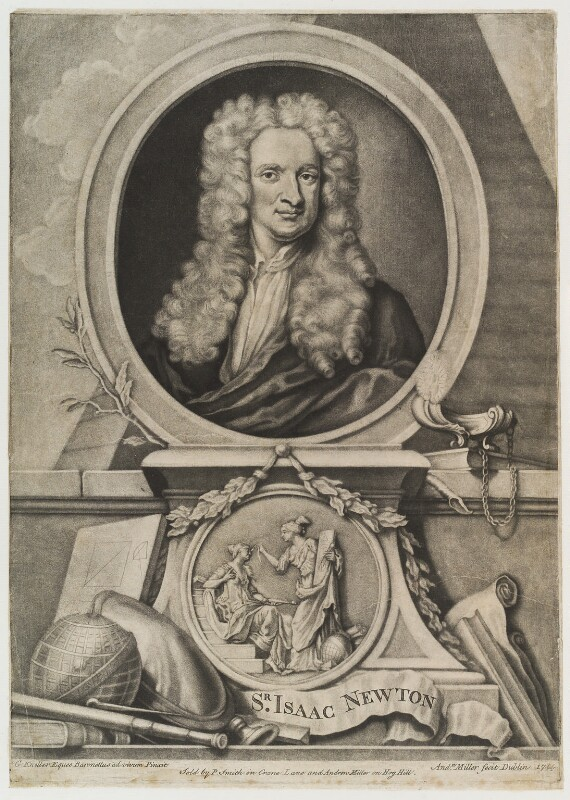 Sir Isaac Newton, by and published by Andrew Miller, published by  P. Smith, after  Sir Godfrey Kneller, Bt, 1744 - NPG D20152 - © National Portrait Gallery, London
