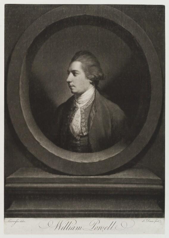 William Powell, by John Dixon, after  Thomas Lawranson, published 1769 - NPG D20221 - © National Portrait Gallery, London