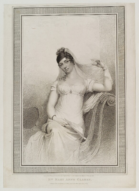 Mary Anne Clarke (née Thompson), by William Hopwood, published by  Thomas Gillett, after  Thomas Rowlandson, published 4 July 1809 - NPG D20228 - © National Portrait Gallery, London