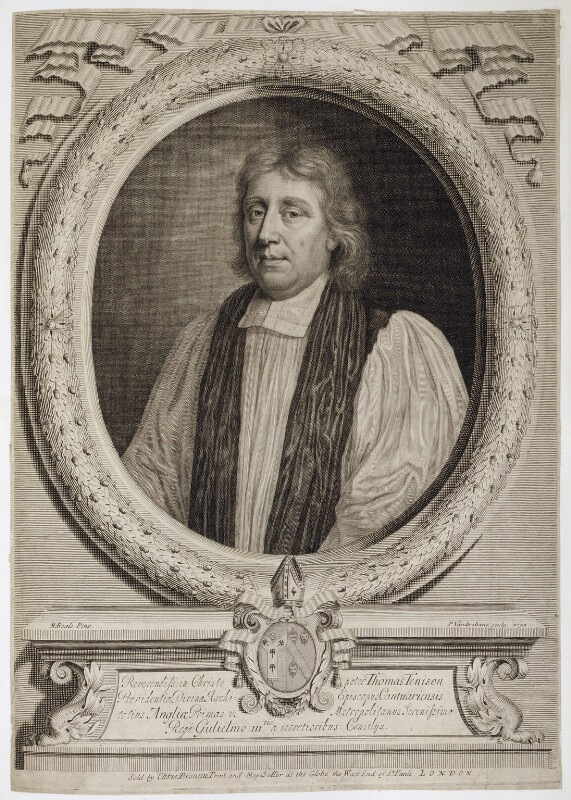 Thomas Tenison, by Peter Vanderbank (Vandrebanc), published by  Christopher Browne, after  Mary Beale, 1695 - NPG D20240 - © National Portrait Gallery, London