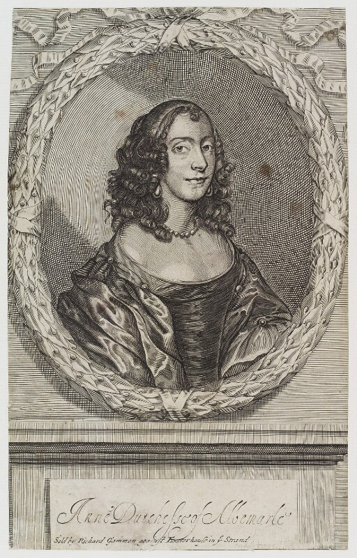 Anne Monck (née Clarges), Duchess of Albemarle, sold by Richard Gammon, circa 1660s - NPG D20248 - © National Portrait Gallery, London