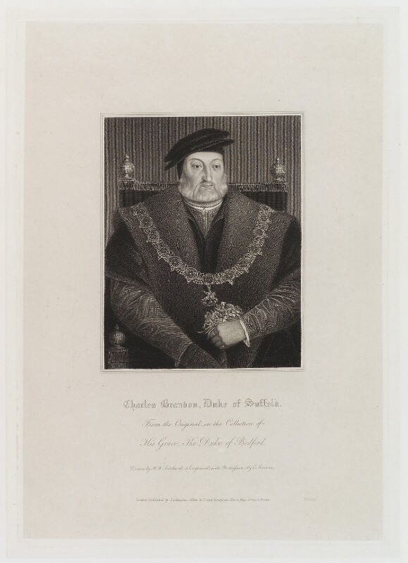 Charles Brandon, 1st Duke of Suffolk, by Edward Scriven, published by  Lackington, Allen & Co, and published by  Longman, Hurst, Rees, Orme & Brown, after  Robert William Satchwell, after  Unknown artist, published circa 1816 (circa 1540-1545) - NPG D20267 - © National Portrait Gallery, London