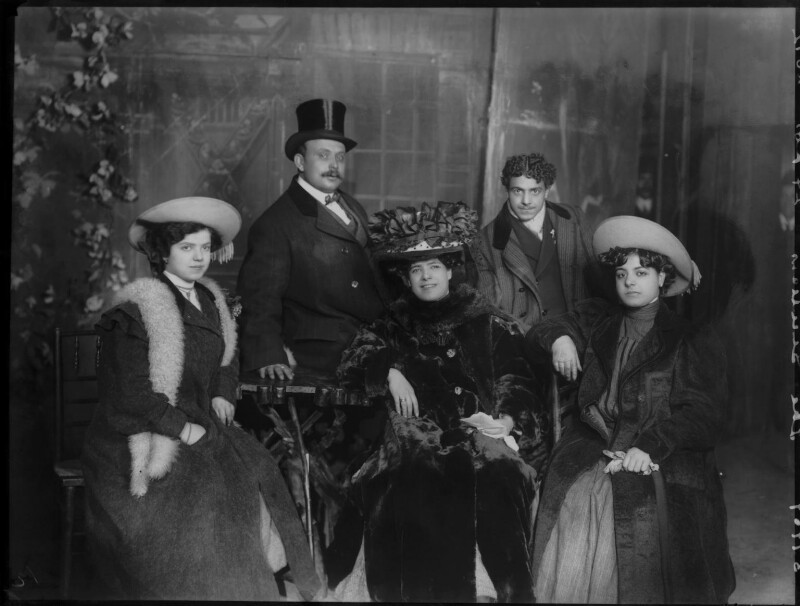 Group of Sicilian Players including Mimi Aguglia-Ferrau in 'Ordinary Life', by Bassano Ltd, 1908 - NPG x104229 - © National Portrait Gallery, London