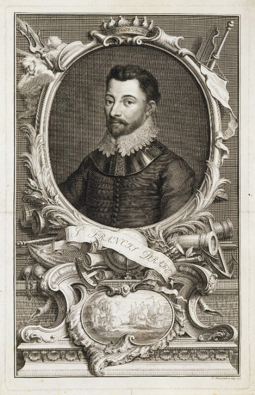 Sir Francis Drake, by Jacobus Houbraken, published by  John & Paul Knapton, circa 1746 - NPG D20289 - © National Portrait Gallery, London