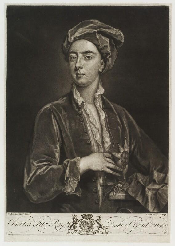 Charles FitzRoy, 2nd Duke of Grafton, by John Faber Jr, after  Sir Godfrey Kneller, Bt, 1731 (circa 1703-1705) - NPG D20291 - © National Portrait Gallery, London