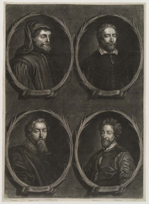 'Worthies of Britain' (Edmund Spenser; Geoffrey Chaucer; John Fletcher; Francis Beaumont), by Francis Kyte, printed and sold by  John Bowles, circa 1725-1745 - NPG D20292 - © National Portrait Gallery, London