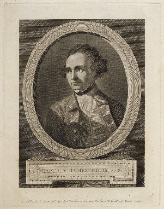 James Cook, by James Basire, published by  William Strahan, and published by  Thomas Cadell the Elder, after  William Hodges, published 1 February 1777 - NPG D20302 - © National Portrait Gallery, London