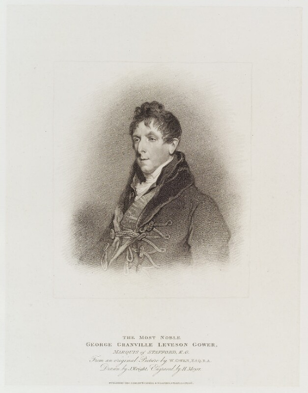 George Granville Leveson-Gower, 1st Duke of Sutherland, by Henry Meyer, published by  T. Cadell & W. Davies, after  John Wright, after  William Owen, published 2 December 1811 - NPG D20315 - © National Portrait Gallery, London