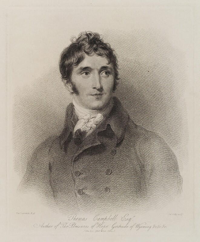 Thomas Campbell, by James Godby, published by  John Lee, after  Sir Thomas Lawrence, early 19th century - NPG D20316 - © National Portrait Gallery, London