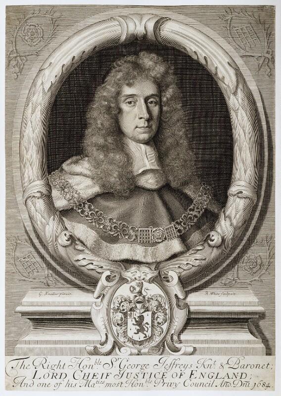 George Jeffreys, 1st Baron Jeffreys of Wem, by Robert White, after  Sir Godfrey Kneller, Bt, circa 1684 - NPG D20325 - © National Portrait Gallery, London