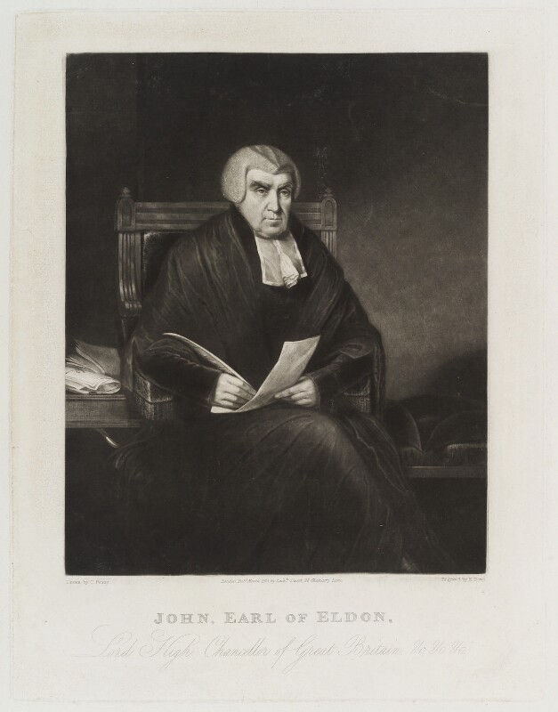 John Scott, 1st Earl of Eldon, by Henry Edward Dawe, published by  Zachariah Sweet, after  Charles Penny, published March 1825 - NPG D20424 - © National Portrait Gallery, London