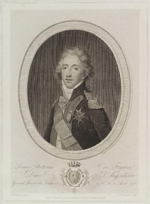 Louis Antoine de Bourbon, duc d'Angoulême, by Philipp Audinet, published by and after  Henri-Pierre Danloux, published 21 January 1799 - NPG D20429 - © National Portrait Gallery, London