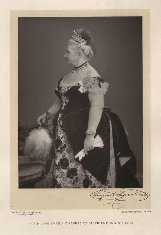 Princess Augusta Caroline, Grand Duchess of Mecklenburg-Strelitz, by Walery, published by  Sampson Low & Co, published July 1889 - NPG x9155 - © National Portrait Gallery, London