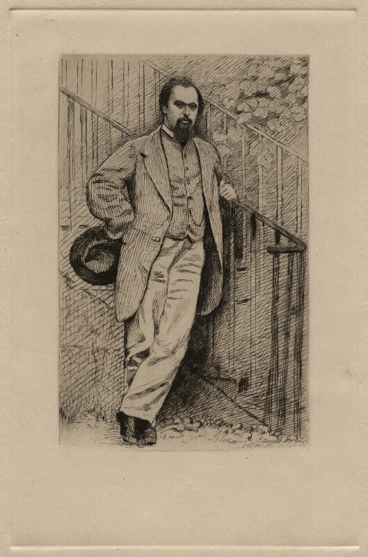 Dante Gabriel Rossetti, by Charles William Sherborn, after  Lewis Carroll, published 1891 (1864) - NPG D16902 - © National Portrait Gallery, London