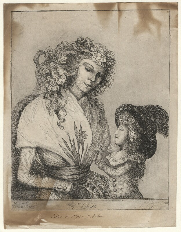 Mrs White (née St Aubyn) and child, by Catherine Molesworth (née St Aubyn), published 1789 - NPG D16928 - © National Portrait Gallery, London