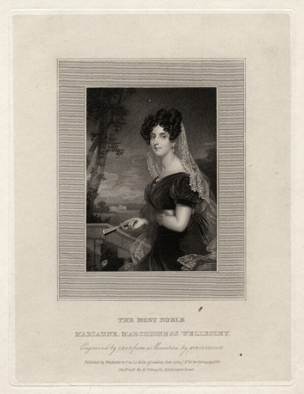 Marianne Wellesley (née Caton), Marchioness Wellesley, by Thomas Anthony Dean, published by  Whittaker & Co, after  Christina Robertson (née Saunders), published February 1829 - NPG D16933 - © National Portrait Gallery, London