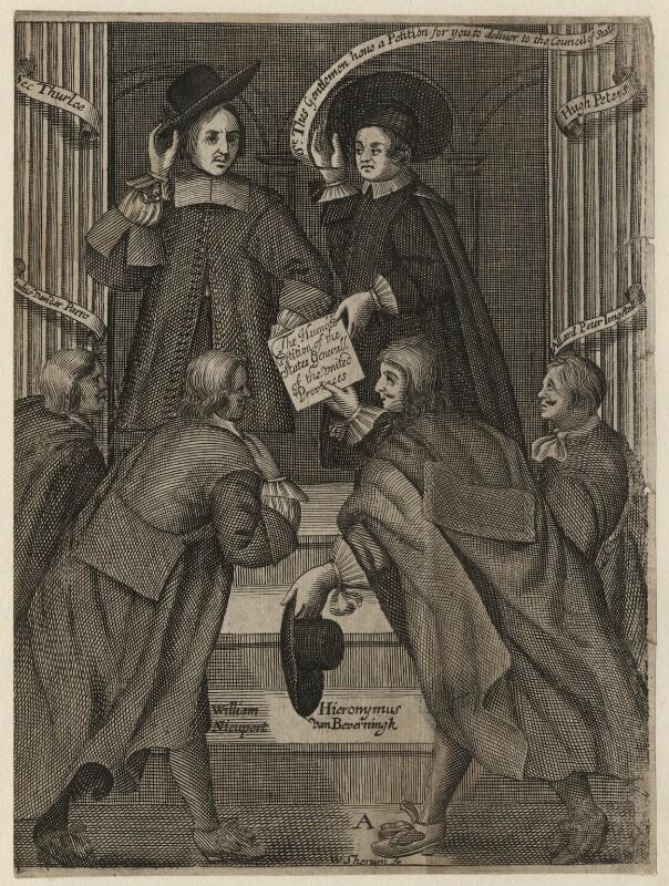John Thurloe; Hugh Peter (Peters); Paul van der Parre; William Nieupoort; Hieronymus van Beverningk; Allard Peter Jongstall, by William Sherwin, late 17th century - NPG D16938 - National Portrait Gallery, London
