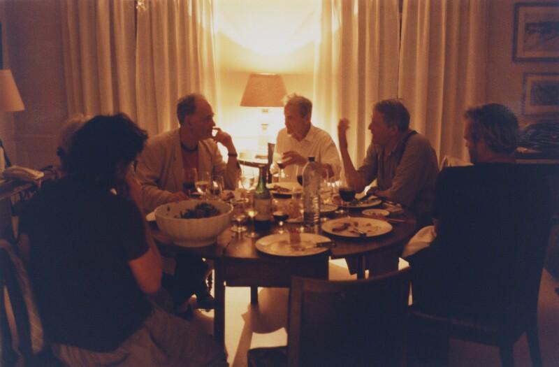 'At Dinner' (Frank Auerbach; Lucian Freud; David Hockney), by David Dawson, 2003 - NPG x126307 - © David Dawson