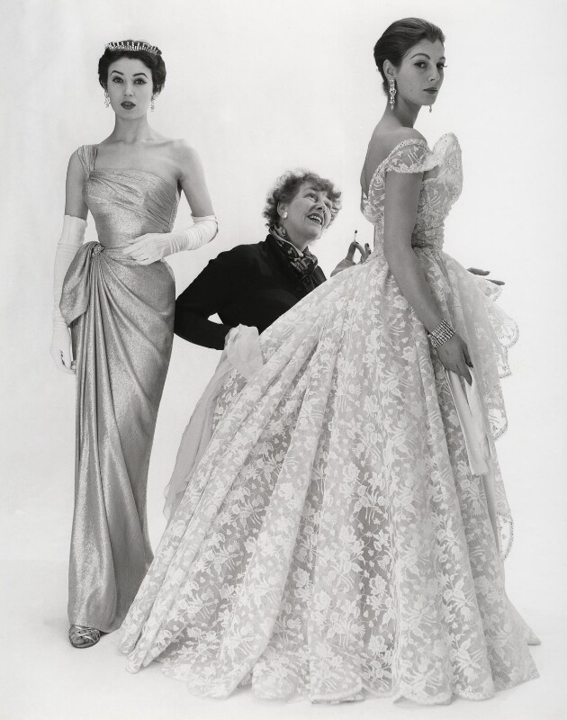 Elspeth Champcommunal with Fiona (née Campbell-Walter), Baroness Thyssen and one other fashion model, by Norman Parkinson, 1953 - NPG x30062 - © Norman Parkinson Archive