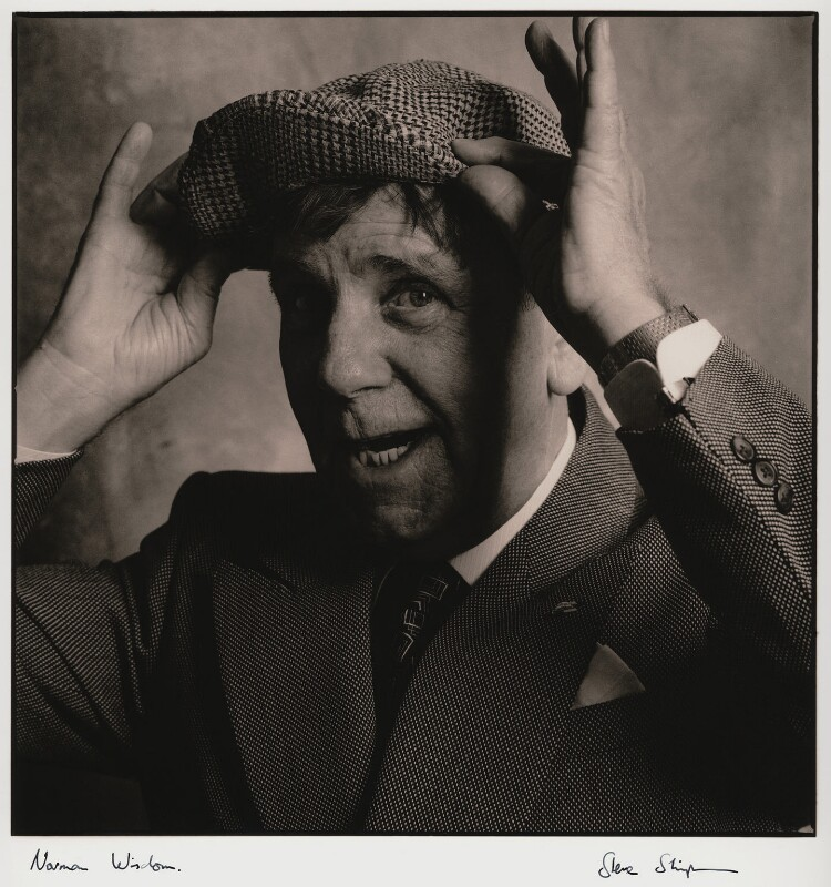 Norman Wisdom, by Steve Shipman, March 1990 - NPG x47277 - © Steve Shipman / National PortraitGallery, London