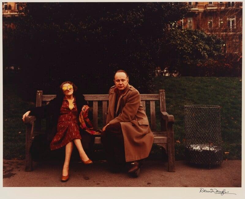 Caryl Brahms (Doris Caroline Abrahams); Ned Sherrin, by Denis Waugh, February 1981 - NPG x32374 - © Denis Waugh / National Portrait Gallery, London