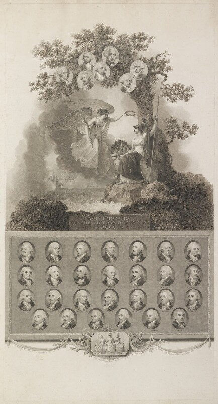 'Commemoration of the victory of June 1st 1794', by Francesco Bartolozzi, and  John George Landseer, and  Thomas Ryder, and  James Stow, published by  Robert Bowyer, after  Robert Smirke, published 1802 - NPG D17016 - © National Portrait Gallery, London