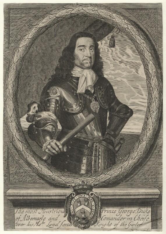 George Monck, 1st Duke of Albemarle, by James Gammon, after  David Loggan, circa 1660 - NPG D17062 - © National Portrait Gallery, London