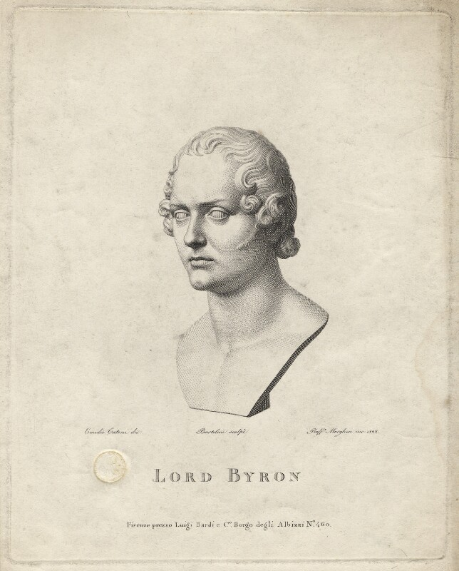 George Gordon Byron, 6th Baron Byron, by Raphael Morghen, after  Lorenzo Bartolini, 1822 - NPG D17067 - © National Portrait Gallery, London