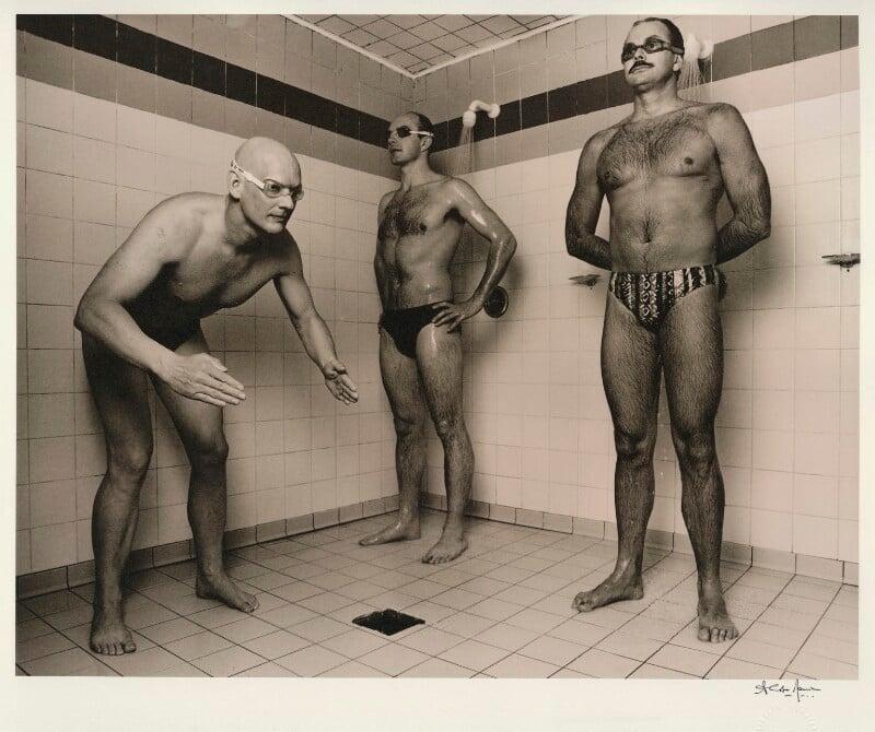 Duncan Goodhew; Adrian Moorhouse; David Wilkie, by Alistair Morrison, May 1996 - NPG x77041 - © Alistair Morrison