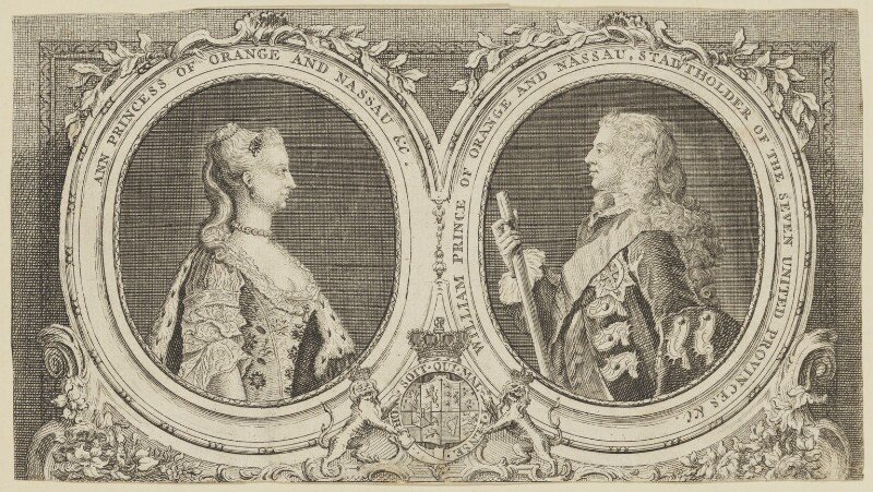 Anne, Princess Royal and Princess of Orange; William Charles Henry Friso, Prince of Orange, after Philip Mercier, and after  Philip van Dyk, 1734 or after - NPG D17091 - © National Portrait Gallery, London