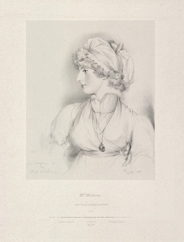 Sarah Siddons (née Kemble), by Richard James Lane, printed by  Charles Joseph Hullmandel, published by  Joseph Dickinson, after  Sir Thomas Lawrence, published May 1830 - NPG D21810 - © National Portrait Gallery, London