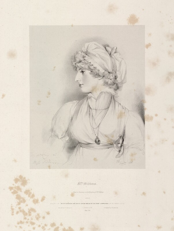 Sarah Siddons (née Kemble), by Richard James Lane, printed by  Charles Joseph Hullmandel, published by  Joseph Dickinson, after  Sir Thomas Lawrence, published May 1830 - NPG D21817 - © National Portrait Gallery, London