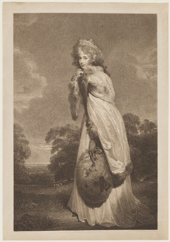 Elizabeth (née Farren), Countess of Derby, by Francesco Bartolozzi, published by  Bull & Jeffryes, after  Sir Thomas Lawrence, published 1 January 1792 - NPG D17080 - © National Portrait Gallery, London